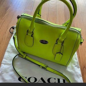 Authentic genuine coach neon satchel bag